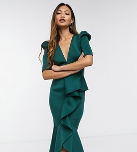 Read more about True violet puff shoulder plunge ruffle front midi dress in forest green