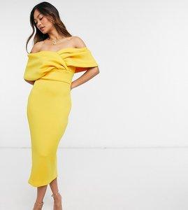 Read more about True violet wrap shoulder bodycon midi dress in golden ochre-yellow