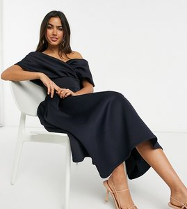 Read more about True violet wrap shoulder prom midi dress in navy
