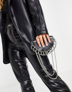 Read more about Truffle collection across body bag with ring and chain detail in black