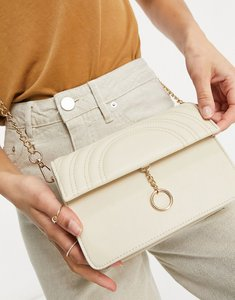 Read more about Truffle collection across body bag with ring detail and chain strap in beige-neutral