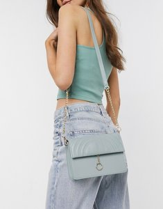 Read more about Truffle collection across body bag with ring detail and chain strap in sage green