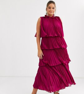 Read more about Truly you high neck tiered maxi dress with pleat detail in raspberry-pink