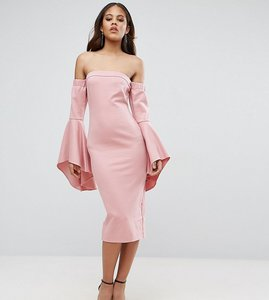 Read more about Ttya black off shoulder midi dress with exagerated fluted sleeve detail-pink