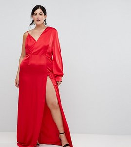 Read more about Ttya black plus one shoulder maxi dress with high thigh split-red