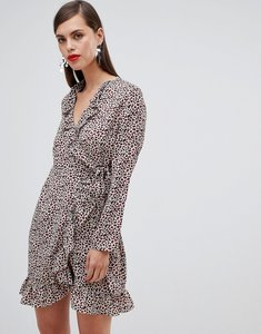 Read more about Unique 21 leopard print long sleeve wrap dress with frill-multi