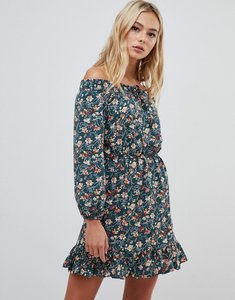 Read more about Urban bliss bardot dress with tie front-multi