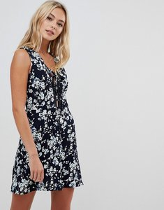 Read more about Urban bliss floral dress with lace up-black