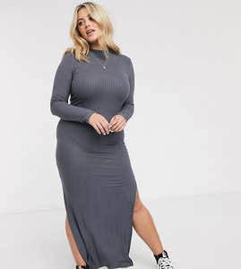 Read more about Urban bliss plus high neck fitted maxi dress with side splits-black