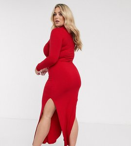 Read more about Urban bliss plus high neck fitted maxi dress with side splits-red