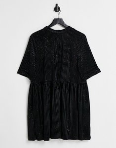 Read more about Urban threads ribbed smock dress with gold glitter in black