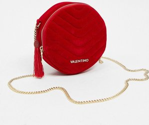 Read more about Valentino bags carillon circle quilted cross body bag in red velvet