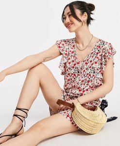 Read more about Vero moda ruffle sleeve v neck playsuit in pink and red floral