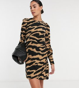 Read more about Vero moda tall shift dress in tan zebra-multi