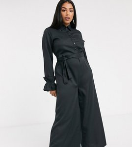 Read more about Verona curve wide leg jumpsuit with belted waist in black