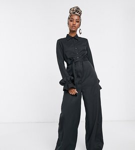 Read more about Verona wide leg jumpsuit with belted waist in black