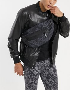 Read more about Versace jeans couture bumbag with purple logo print in black