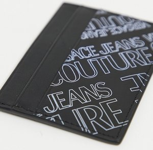 Read more about Versace jeans couture card holder with purple logo print in black