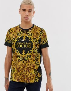 Read more about Versace jeans couture t-shirt in leopard baroque print-gold