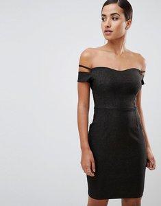 Read more about Vesper bardot mini glitter dress with sleeve detail in black