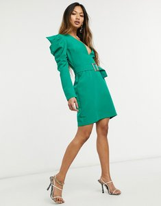 Read more about Vesper deep plunge mini dress with statement shoulder and buckle detail in green