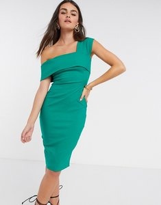 Read more about Vesper fallen shoulder fitted midi dress in green