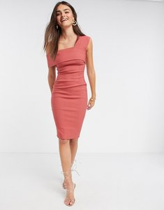 Read more about Vesper fallen shoulder fitted midi dress in rose-pink