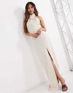Read more about Vesper halterneck maxi dress with side split in beige-neutral