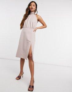 Read more about Vesper halterneck midi dress with side split in taupe-pink