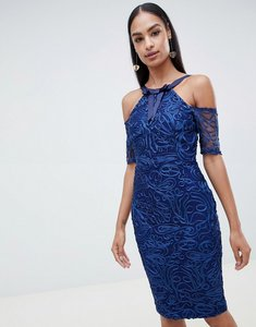 Read more about Vesper lace pencil dress with short sleeve-blue