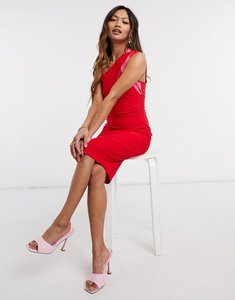 Read more about Vesper one shoulder bodycon midi dress in red with pink contrast