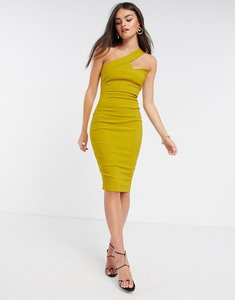 Read more about Vesper one shoulder midi pencil dress in ochre-yellow