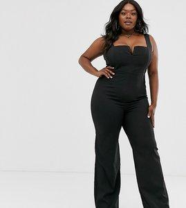 Read more about Vesper plus plunge front wide leg jumpsuit in black