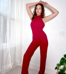Read more about Vesper tall high neck wide leg open back jumpsuit in deep raspberry-red