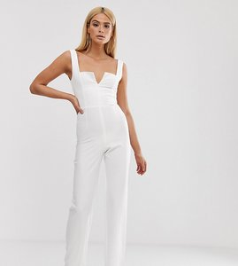 Read more about Vesper tall plunge front wide leg jumpsuit in white