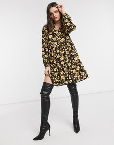Read more about Vila long sleeve smock dress in yellow floral print-multi