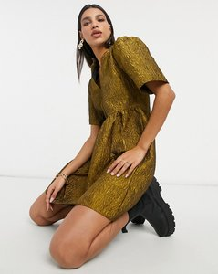 Read more about Vila mini dress with grandad collar and frill detail in floral jacquard gold