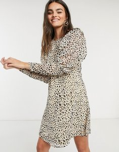 Read more about Vila mini dress with puff sleeves in spot print-white