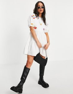 Read more about Violet romance tie back mini dress with floral embroidery in white