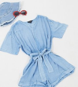 Read more about Wednesday s girl belted playsuit in denim-blue