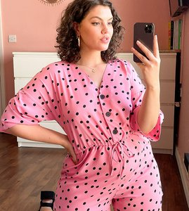 Read more about Wednesday s girl curve relaxed playsuit with drawstring waist in scattered polka dot-pink