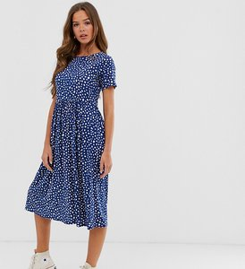 Read more about Wednesday s girl midi smock dress in smudge spot print-navy