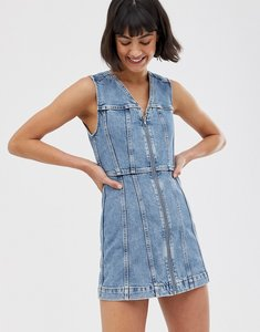 Read more about Weekday zip detail denim mini dress in blue