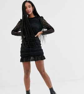 Read more about Wild honey long sleeved lace dress with ruching-black