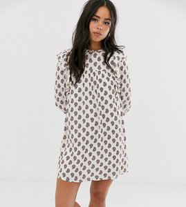 Read more about Wild honey oversized smock dress with lace trims in floral-white