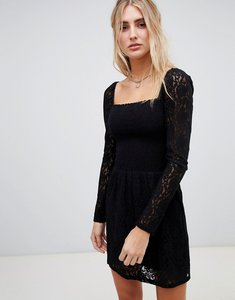 Read more about Wild honey square neck dress with long sleeves in lace-black