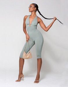 Read more about Wmnswear plunge buckle detail halterneck cropped jumpsuit in sage-green