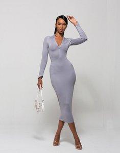 Read more about Wmnswear plunge zip front long sleeve midi dress in grey