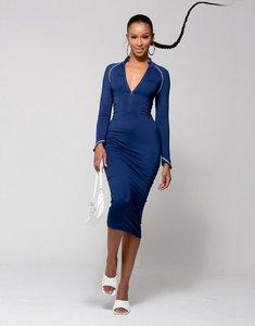 Read more about Wmnswear plunge zip front long sleeve midi dress in smokey blue