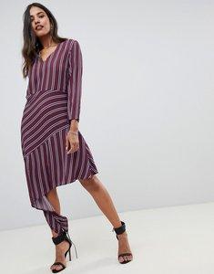 Read more about Y a s stripe midi dress with asymmetric hem-multi
